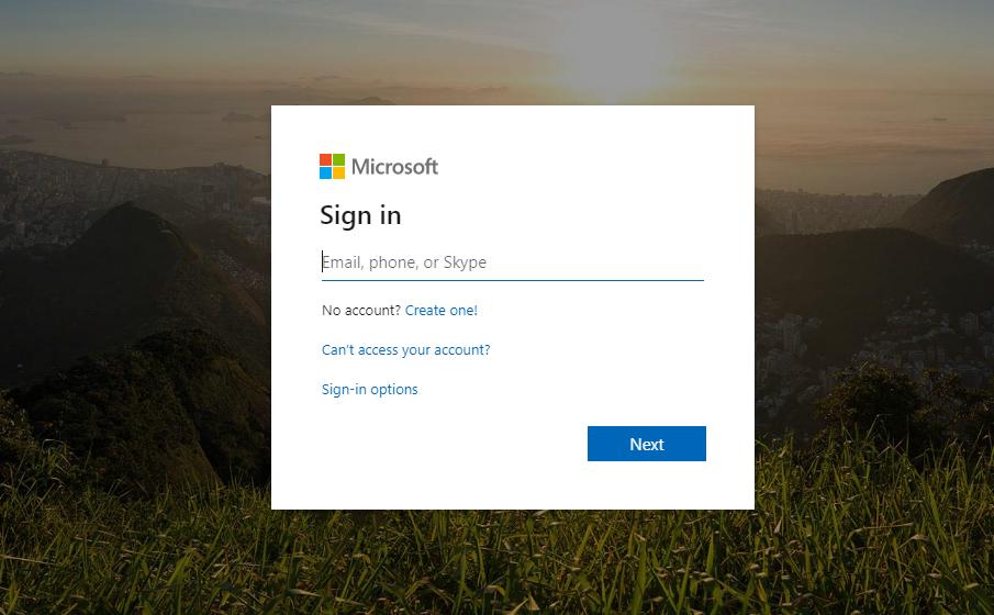 Màn hình đăng nhập Microsoft Teams
